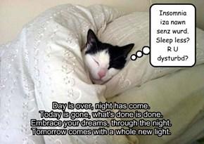 Insomnia iza nawn senz wurd.Sleep less? R U dysturbd?