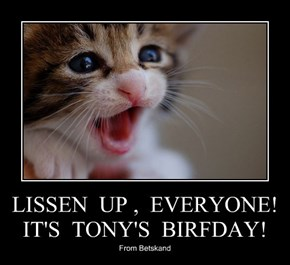 LISSEN  UP ,  EVERYONE!  IT'S  TONY'S  BIRFDAY!