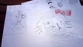 They're learning the ropes earlier and earlier these days. My GREAT nephew's self-inflicted art lesson today.