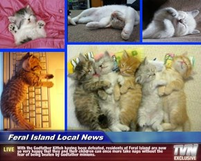 Feral Island Local News - With the Godfather Kitteh having been defeated, residents of Feral Island are now so very happy that they and their children can once more take naps without the fear of being beaten by Godfather minions.