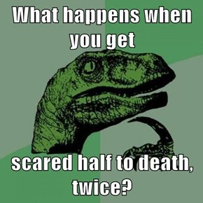 What happens when you get  scared half to death, twice?