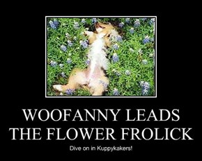 WOOFANNY LEADS THE FLOWER FROLICK