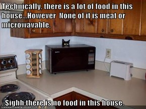 Technically, there is a lot of food in this house...However  None of it is meat or microwavable.  ..Sighh there is no food in this house.
