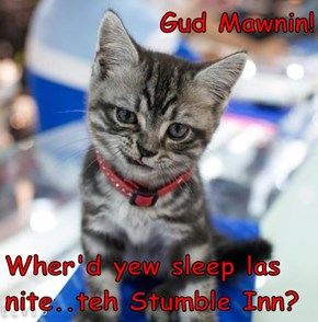 Gud Mawnin!  Wher'd yew sleep las nite..teh Stumble Inn?