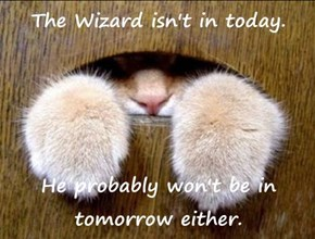 The Wizard isn't in today.  He probably won't be in tomorrow either.