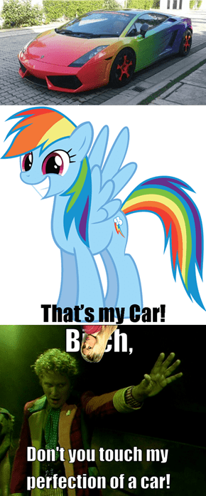 Give That Dashing Rainbow His Car.