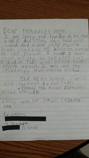 Sounds Like the 4th Grader Didn't Like What He Saw