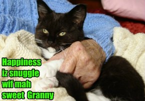 Happiness  iz snuggle  wif mah sweet  Granny