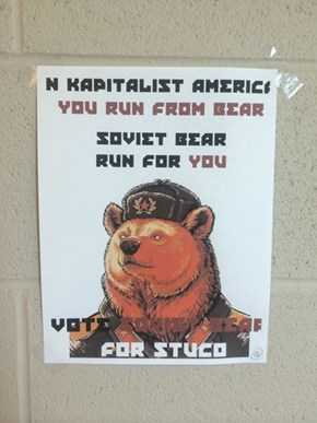 Anonymous Student Runs as Soviet Bear for Student Council