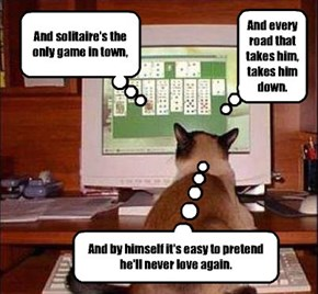 He's Playing Solitaire.