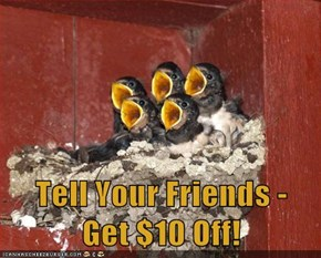Tell Your Friends -         Get $10 Off!