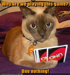 Why are we playing this game?  Uno nothing!