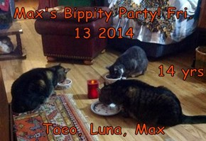 Max's Bippity Party! Fri. 13 2014  14 yrs Taeo, Luna, Max