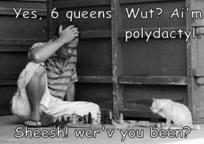 Yes, 6 queens. Wut? Ai'm polydactyl.   Sheesh! wer'v you been?
