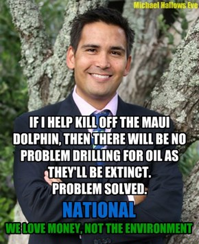 "National Party NZ - ""We love Money, not the Environment"""