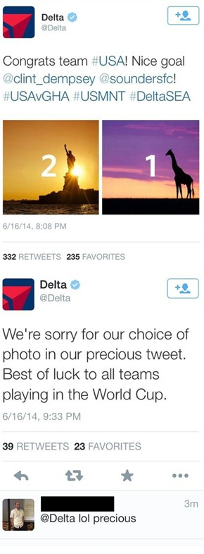 Delta Celebrates the US Team's World Cup Victory With a Picture of a Giraffe. Giraffes Don't Live in Ghana. Don't Tell Anyone!