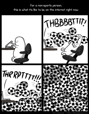For a non-sports person, this is sorta what it's like to be on the internet right now... (The Oatmeal)