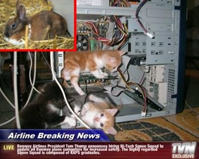 Airline Breaking News - Bunway Airlines President Tom Thump announces hiring Hi-Tech Squee Squad to update all Bunway plane computers for increased safety. The highly regarded Squee Squad is composed of KKPS graduates.