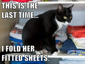 THIS IS THE                                   LAST TIME...  I FOLD HER                                FITTED SHEETS.