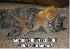 Mom! Mom! Waked up!                                                                   Ai haz a nitemeer!