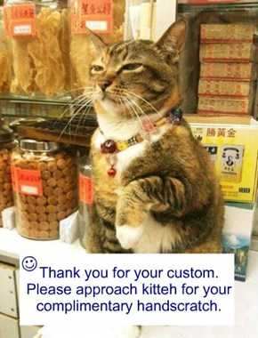 Thank you for your custom. Please approach kitteh for your  complimentary handscratch.