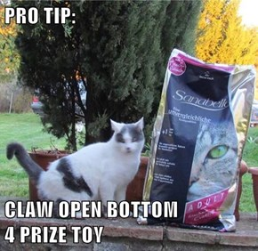 PRO TIP:  CLAW OPEN BOTTOM                 4 PRIZE TOY