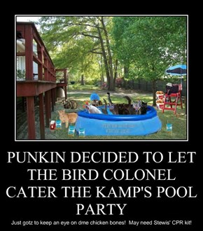 PUNKIN DECIDED TO LET THE BIRD COLONEL CATER THE KAMP'S POOL PARTY