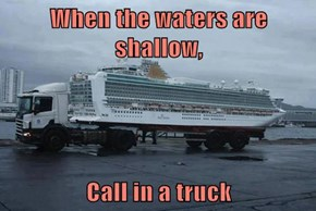 When the waters are shallow,  Call in a truck