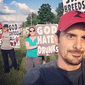 Selfie of the Day: Brad Paisley Trolls Westboro Baptist Church Protest With a Selfie