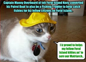 Feral Island Breaking News - Captain Manny Overboard is awarded an Order of Merit Medal by General Bonkers for his Outstanding Service..