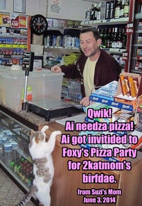 Qwik!  Ai needza pizza!  Ai got invitided to Foxy's Pizza Party for 2katmom's birfdae.