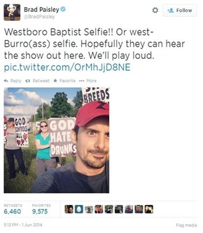 Brad Paisley Deals With Westboro Protesters the Only Way He Can