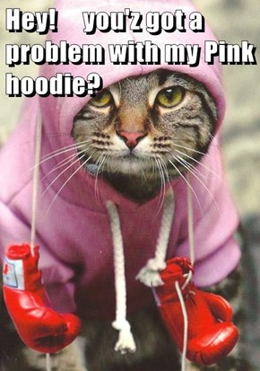 Hey!     you'z got a problem with my Pink hoodie?