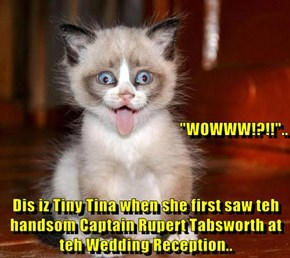 """WOWWW!?!!""..  Dis iz Tiny Tina when she first saw teh handsom Captain Rupert Tabsworth at teh Wedding Reception.."