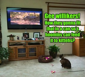 Gee Willikers! How they gonna fit that in a can so's hoomins can feed it to kittehs?