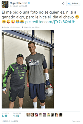 Migeul Herrera, the Coach of the Mexican National Team, Snaps a Photo With a Fan He's Never Heard of. The Rest of Us Call That Guy Tom Brady.