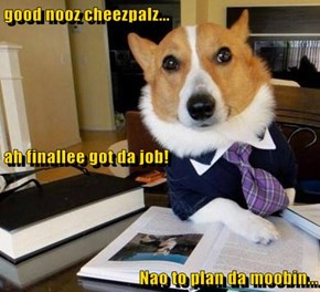 good nooz cheezpalz...                                                                                        ah finallee got da job! Nao to plan da moobin...