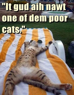 """It gud aih nawt one of dem poor cats."""