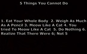 5 Things You Cannot Do 1. Eat Your Whole Body  2. Weigh As Much As A Pencil 3. Meow Like A Cat 4. You tried To Meow Like A Cat  5. Do Nothing 6. Realize That There Were 6; Not 5