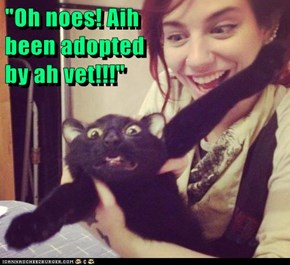 """Oh noes! Aih                                                  been adopted                                                   by ah vet!!!"""