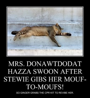MRS. DONAWTDODAT HAZZA SWOON AFTER STEWIE GIBS HER MOUF-TO-MOUFS!