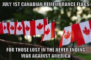 JULY 1ST CANADIAN REMEMBRANCE FLAGS  FOR THOSE LOST IN THE NEVER ENDING WAR AGAINST AMERICA