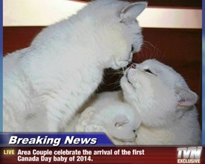Breaking News - Area Couple celebrate the arrival of the first     Canada Day baby of 2014.