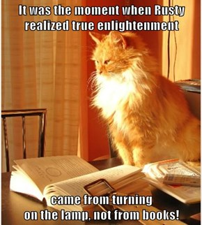 It was the moment when Rusty realized true enlightenment  came from turning                                                                         on the lamp, not from books!