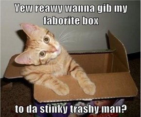 Yew reawy wanna gib my faborite box  to da stinky trashy man?