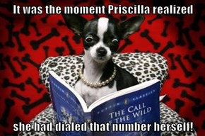 It was the moment Priscilla realized  she had dialed that number herself!