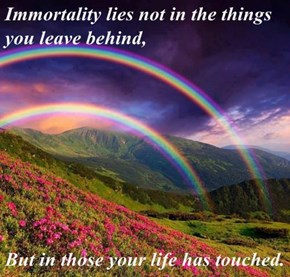 Immortality lies not in the things you leave behind,  But in those your life has touched.