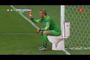 Dutch Goalie Cillessen Waiting In Comfort...