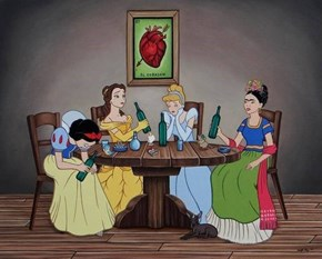 Frida Drinks With Disney Princesses?