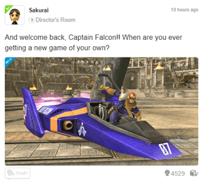 Even Sakurai's sick of waiting for a new F-Zero